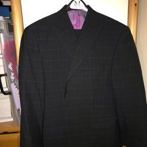 Black w/ lg purple checked 3 pc 3 button suit 42s